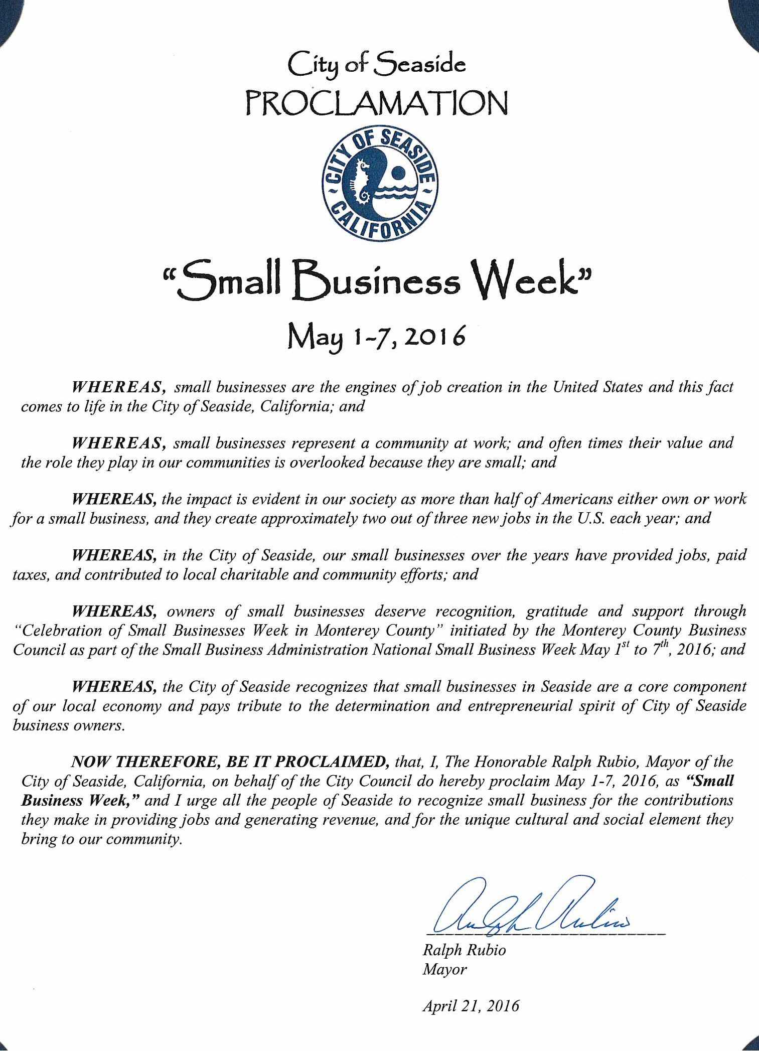 2016 Proclamation Small Business Week