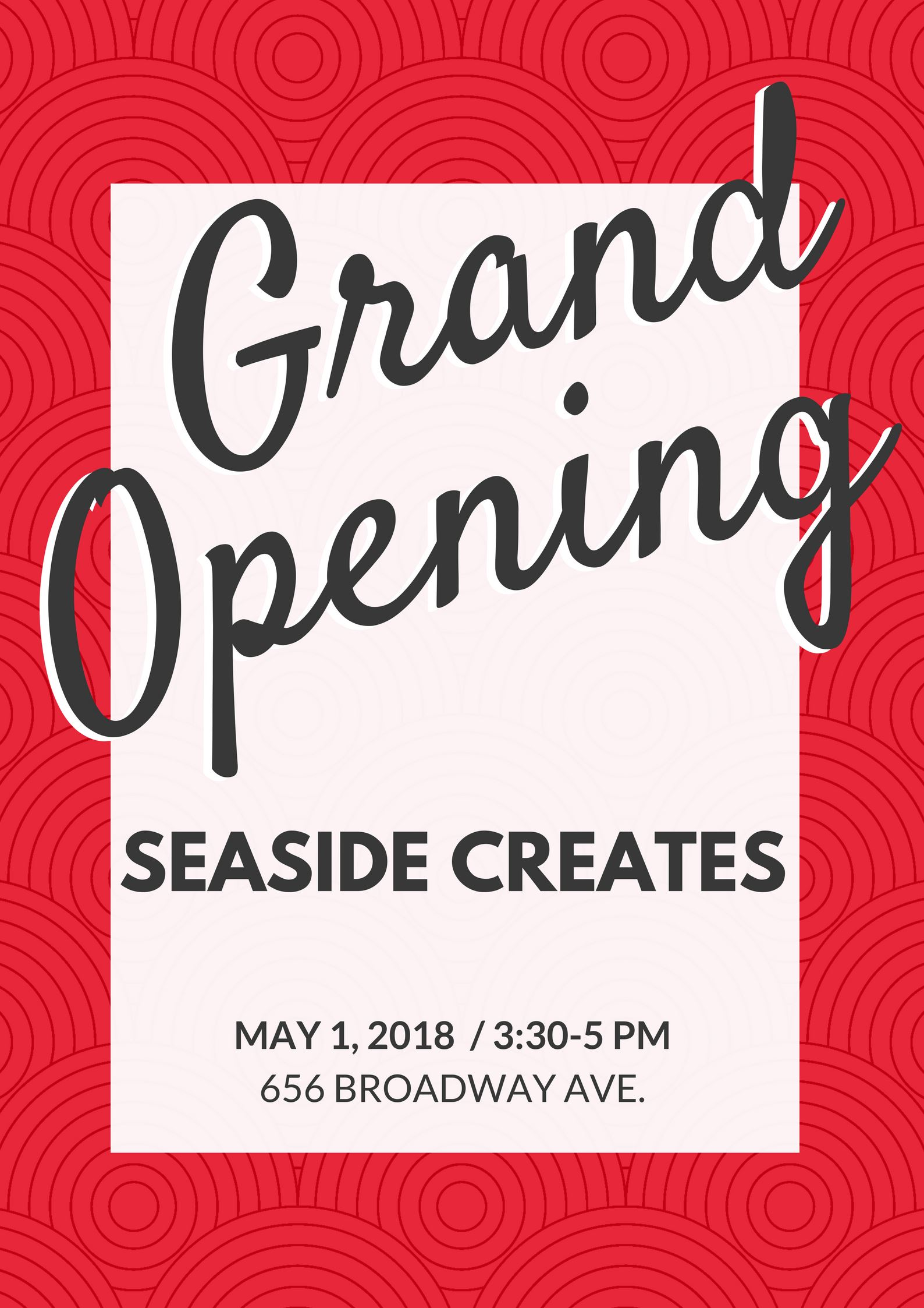 Seaside Creates grand opening flyer