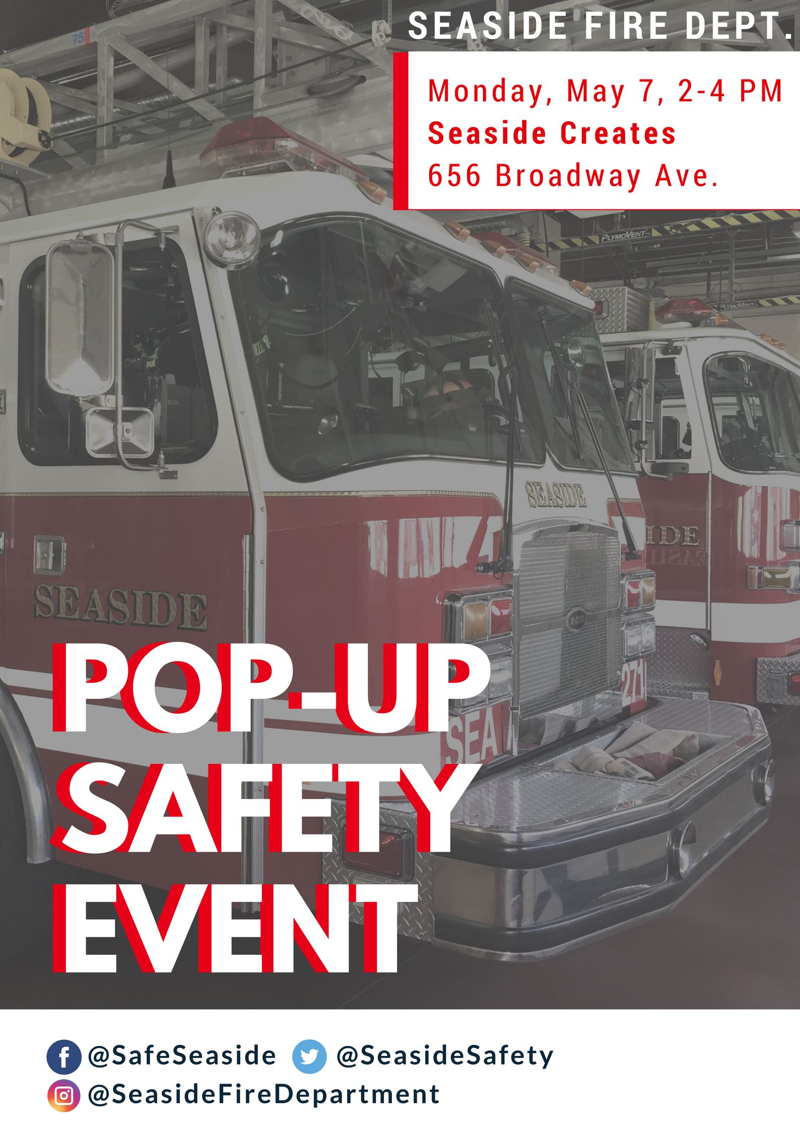 Pop-up safety event with image of fire engine