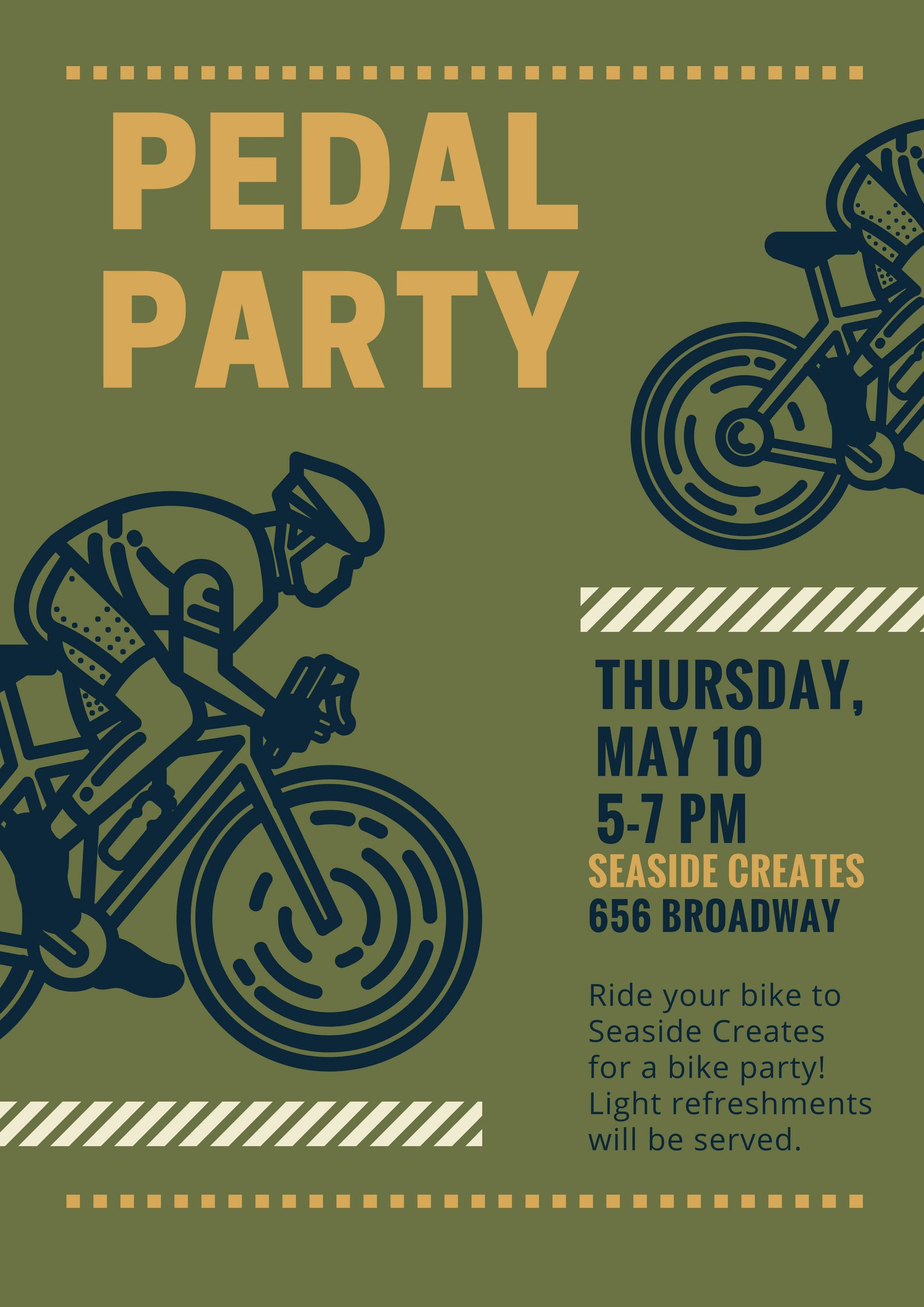 Pedal Party flyer with images of bicycle riders