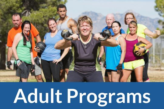"""Adult Program"" graphic icon with image of adults exercising"