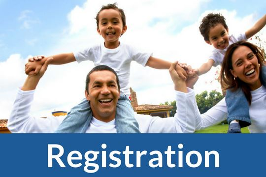 """Registration"" graphic link with photo of family"