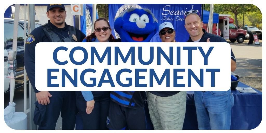"""Community Engagement"" banner with images of Police Department Personnel"