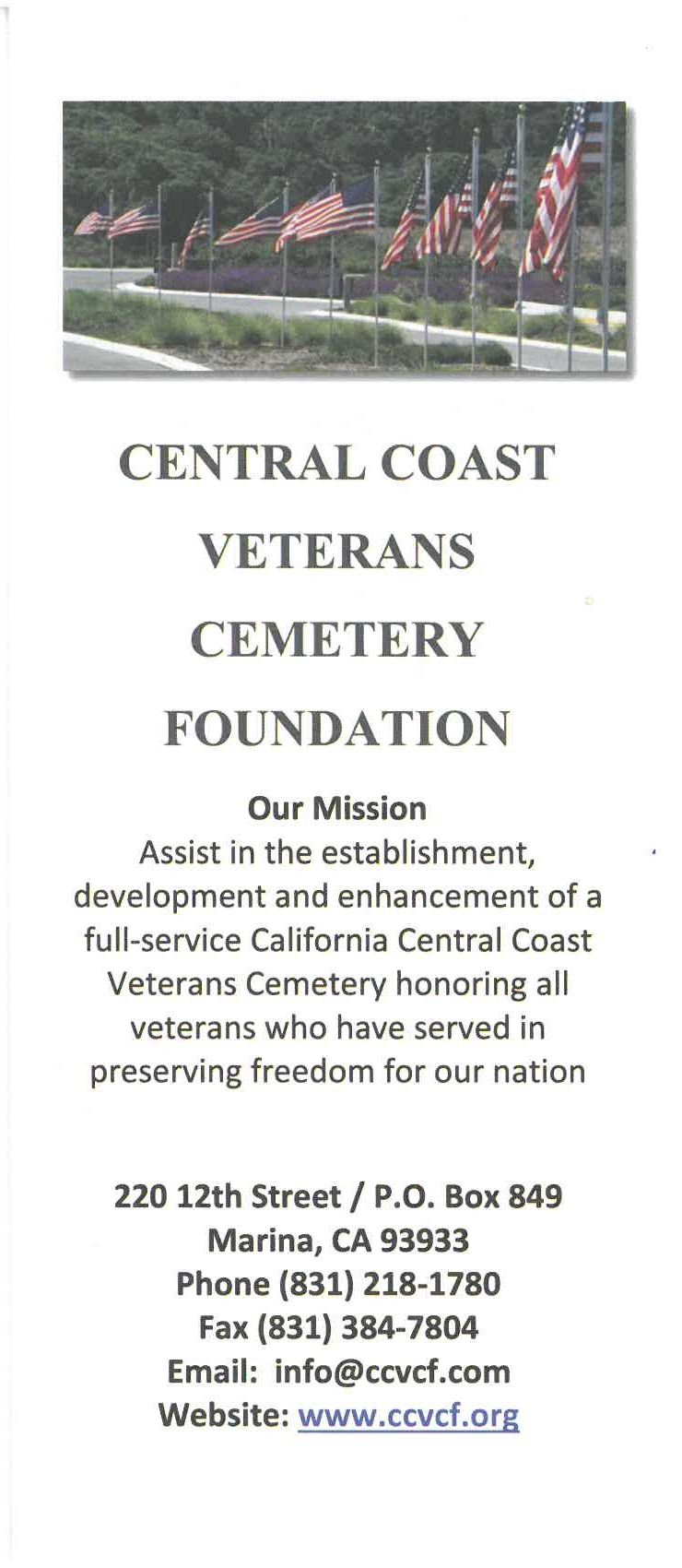 Central Coast Veterans Cemetery Foundation flyer