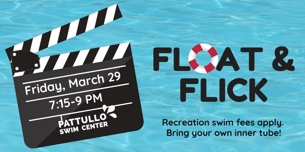 "Banner for Float and Flick ""March 29, 7:15-9PM"""
