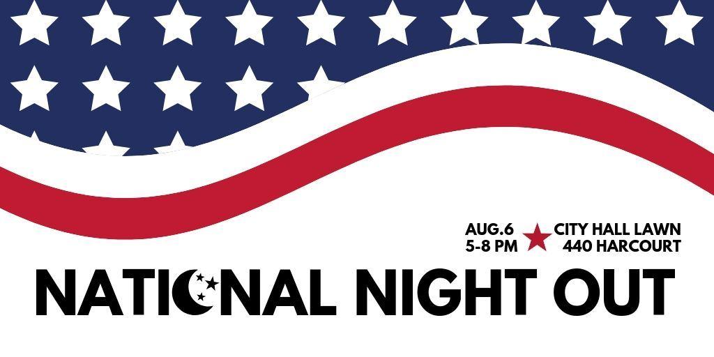 "Banner that says ""National Night Out August 6"""