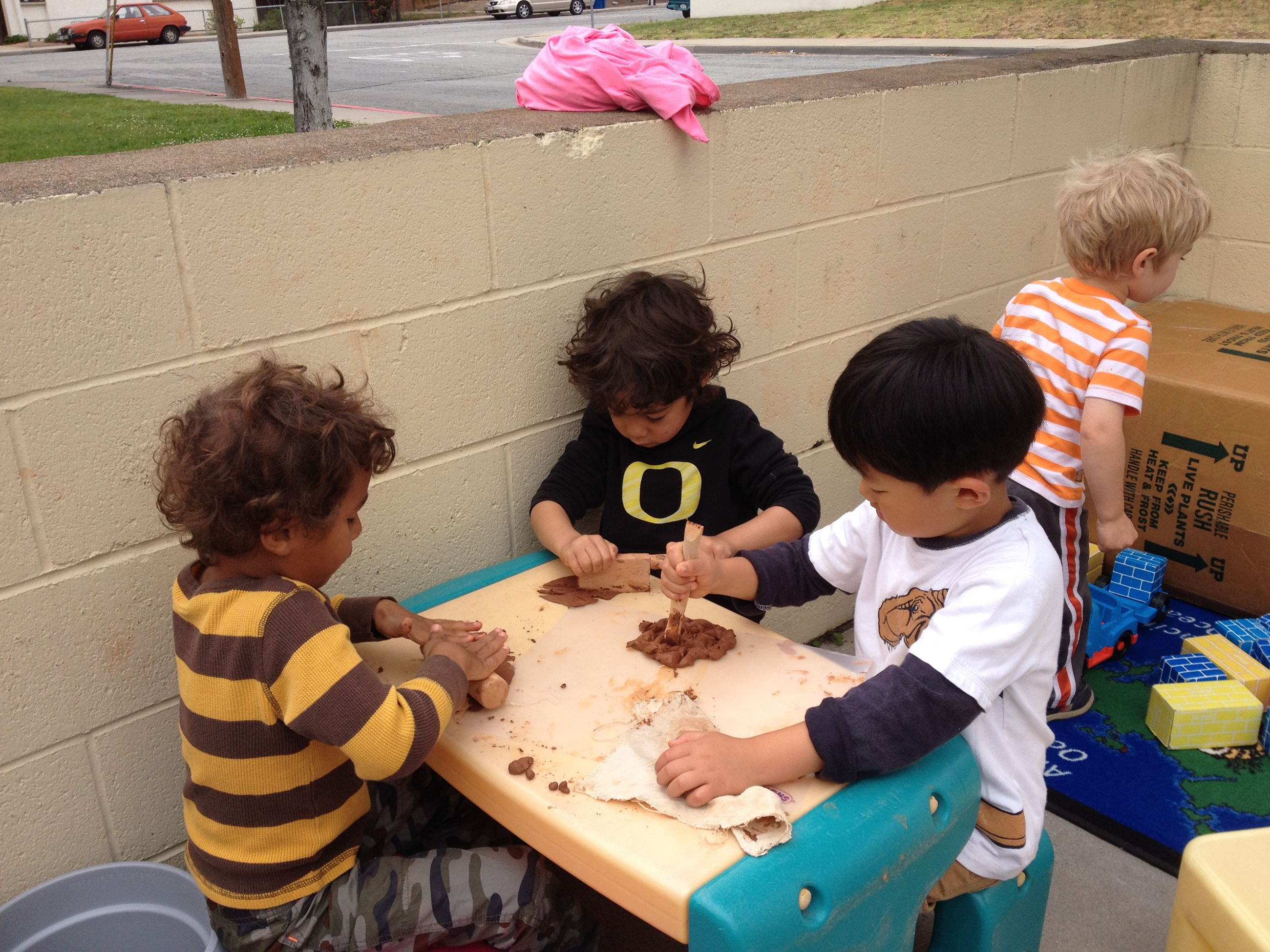 Children at clay table