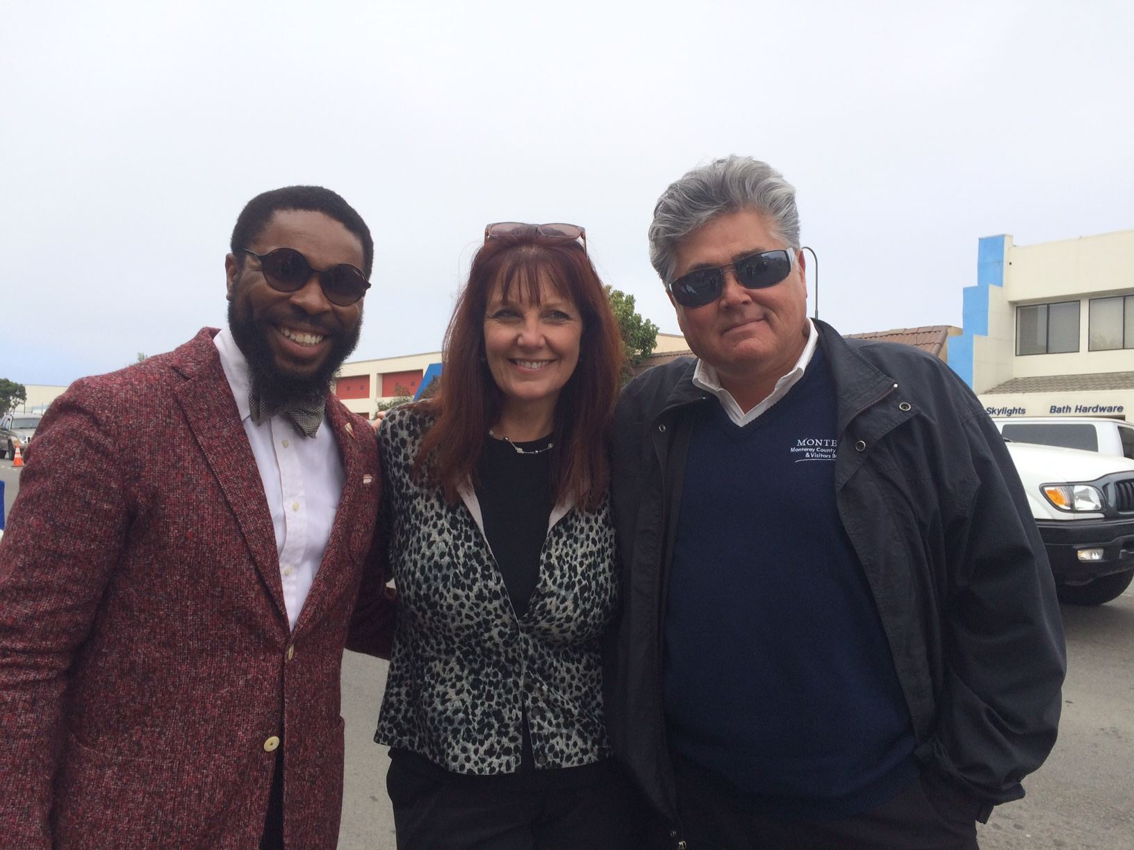 Maddox Haberdasher, style consultant; Michele Allen, Traffic Reporter KSBW-TV and David Marzetti, Local enterainer and MCCVB  judge PARK-ing Day Entries