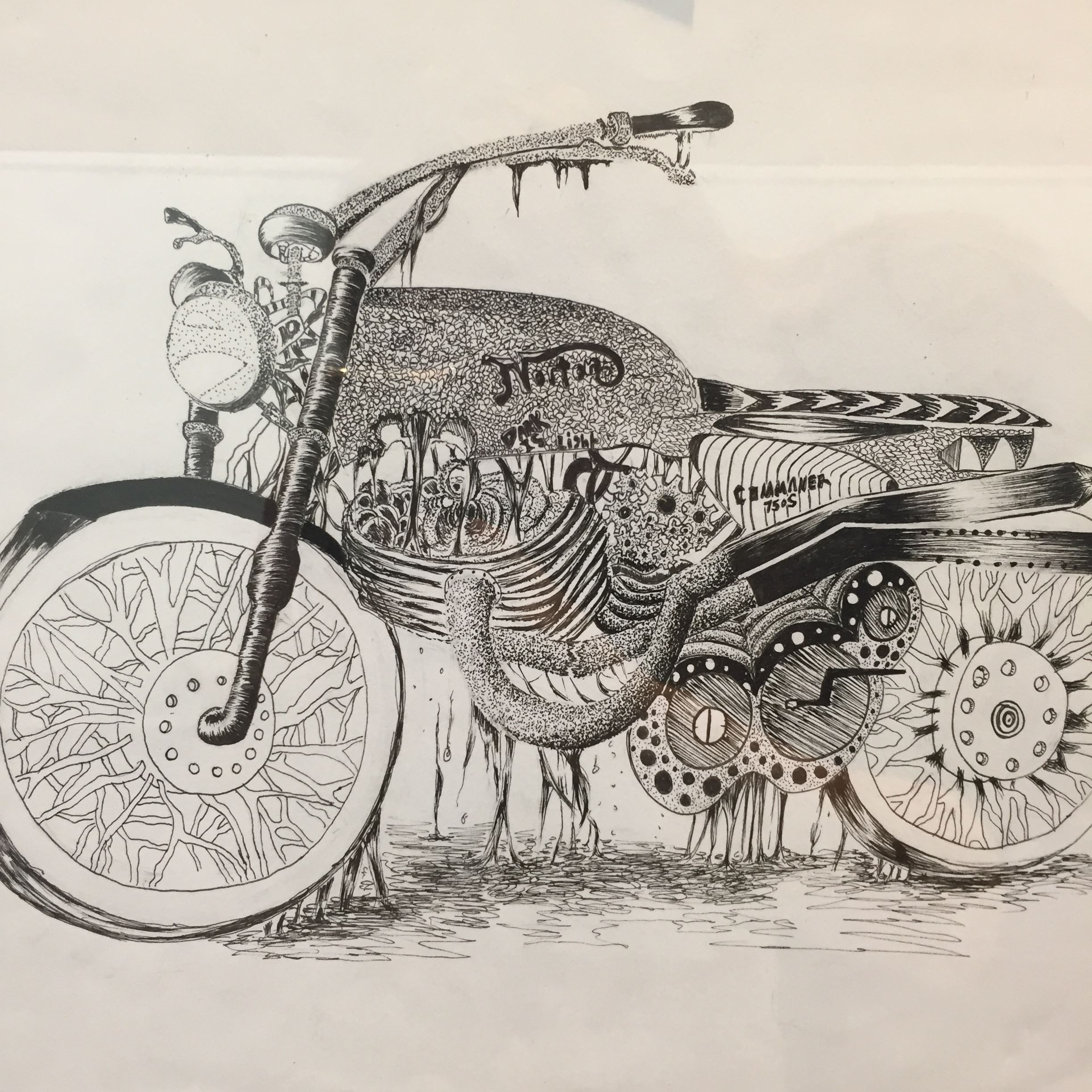Black and white painting of motorcycle