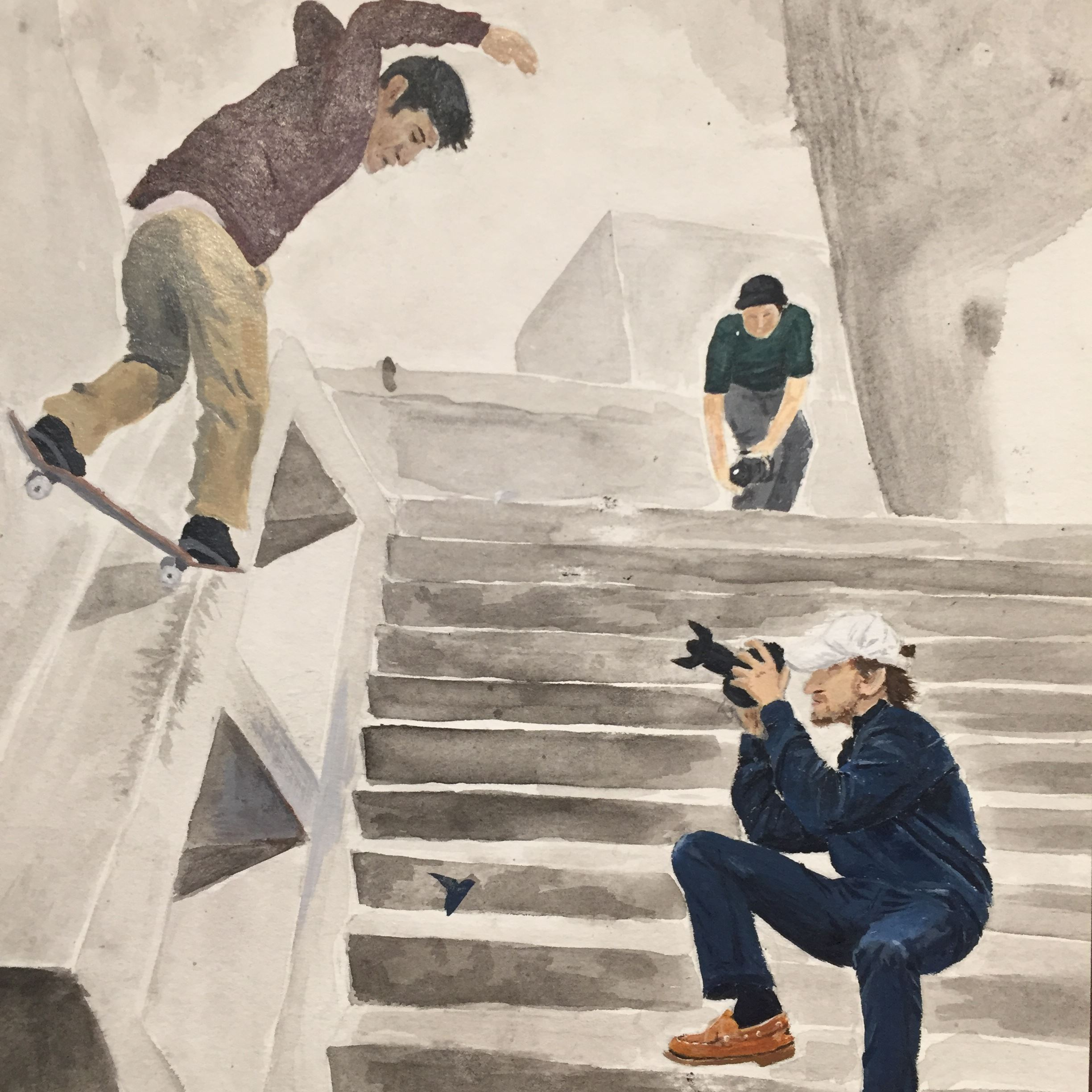 Painting of photographers and skateboarder