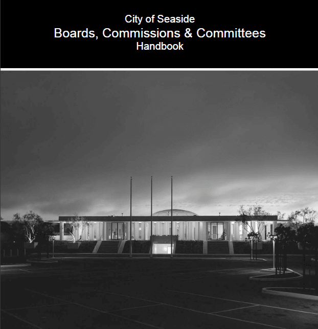 Cover page from the Boards and Commissions Handbook with black and white photo of City Hall