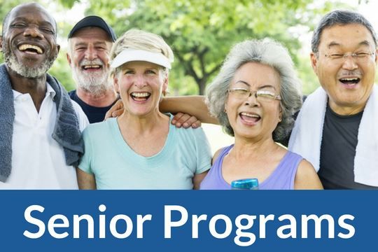 """Senior Program"" graphic icon with image of group of seniors"