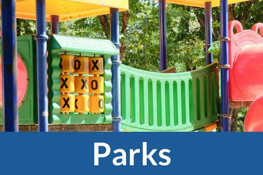 """Parks"" graphic icon with image of playground equipment"