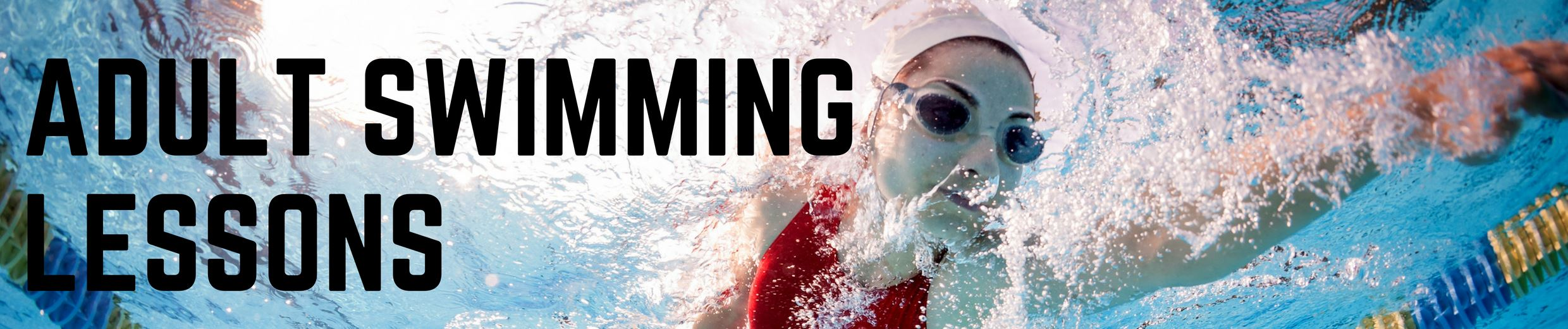 """Adult Swim Lessons"" banner with image of adult swimmer in pool"