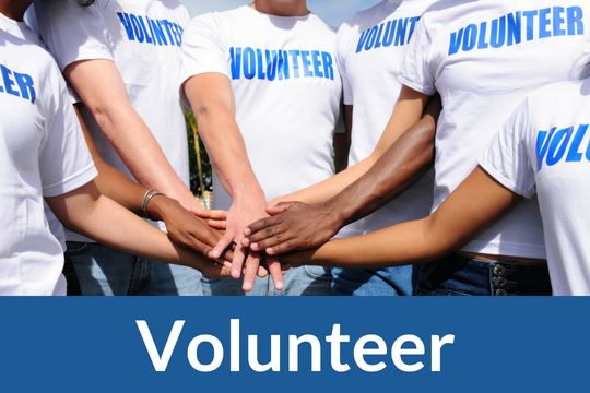 """Volunteers"" graphic icon with photo of arms"