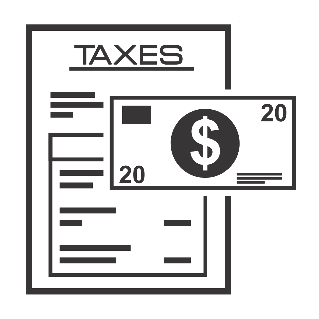 Black and white illustration of taxes