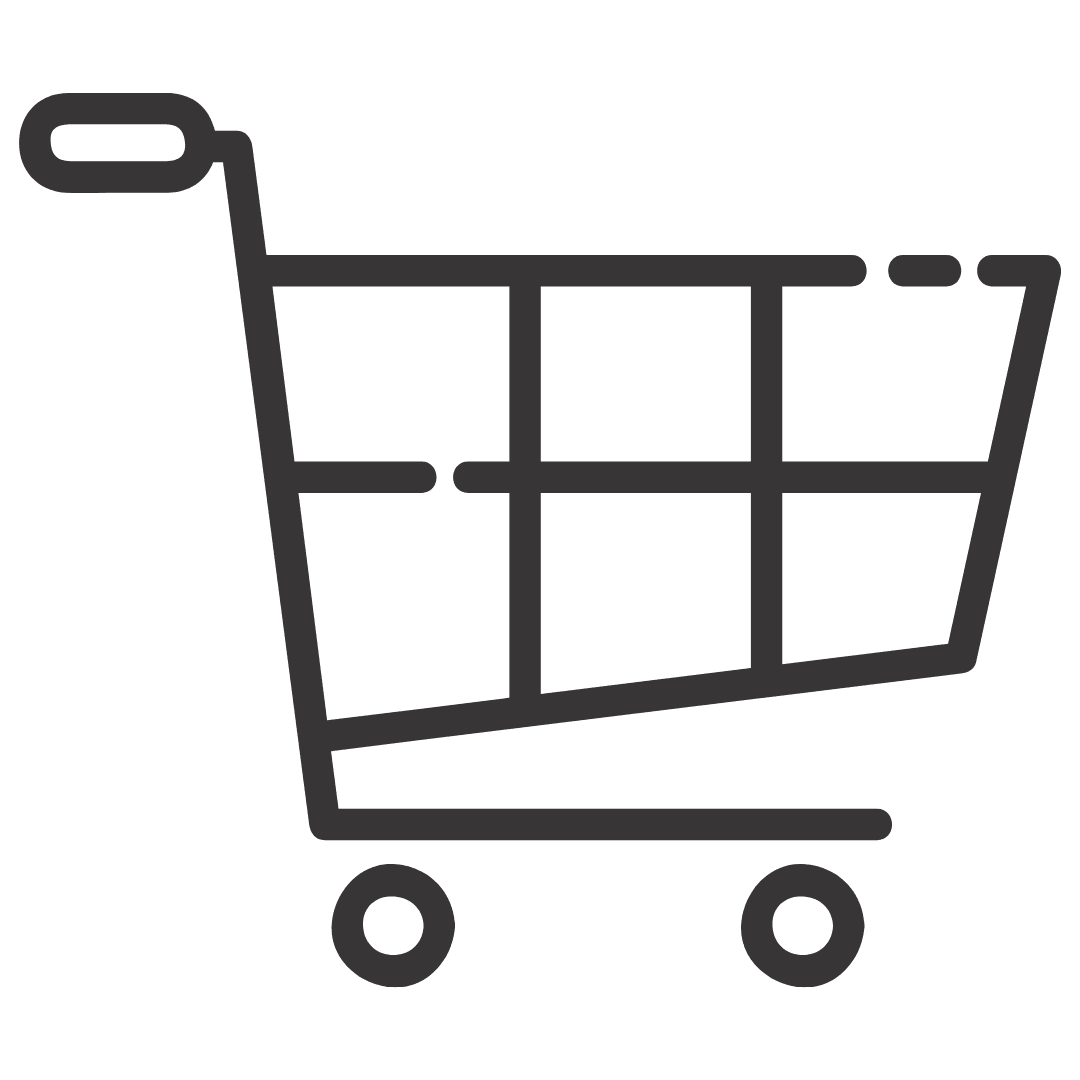 Black and white illustration of shopping cart