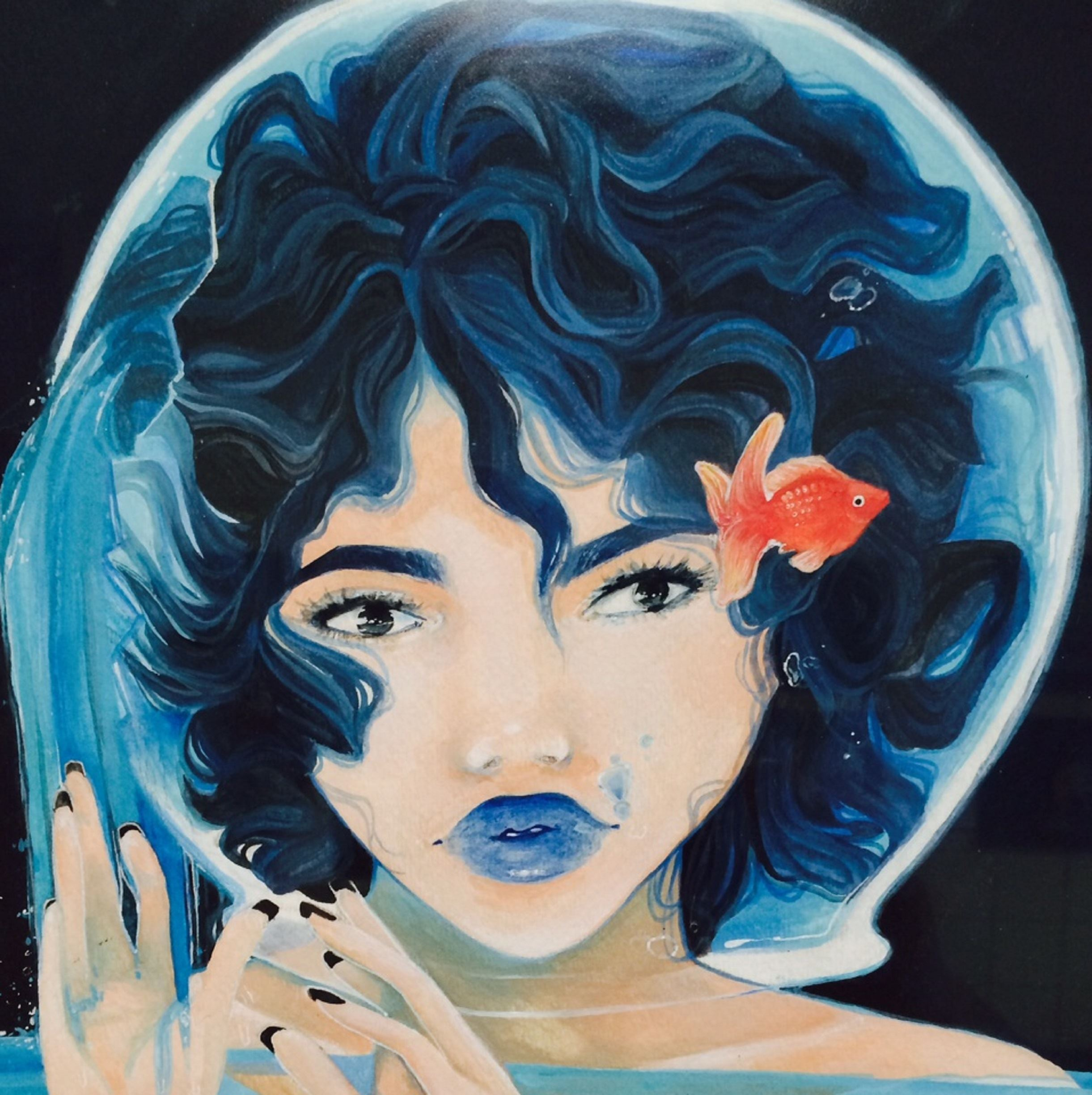 Painting of woman's head in fishbowl with goldfish