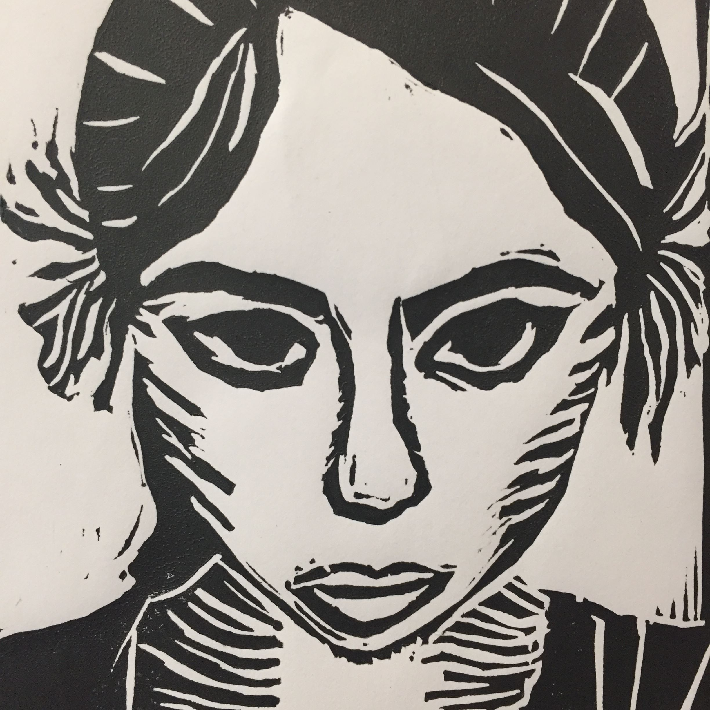 Black and white painting of woman's face