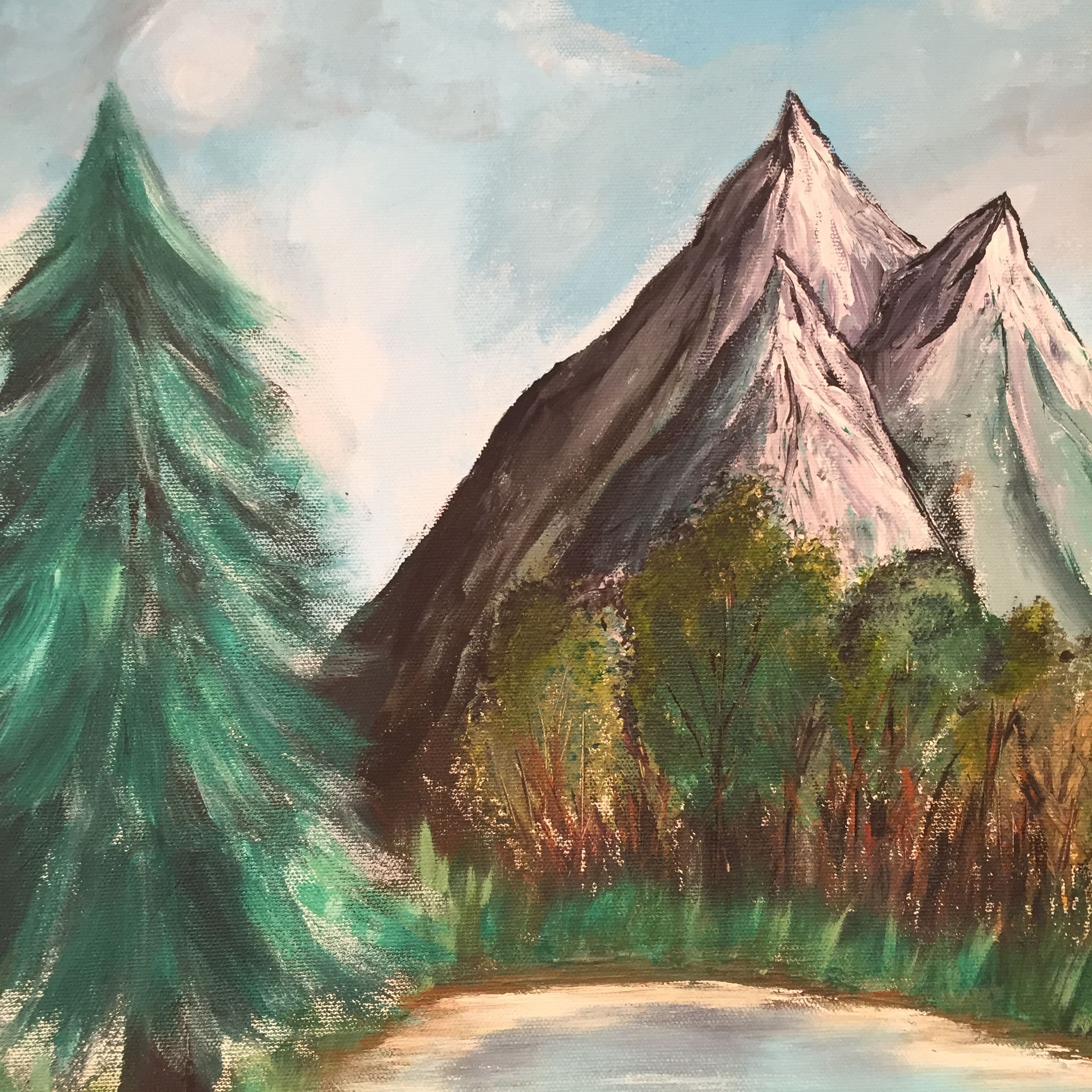 Painting of mountain peaks and trees