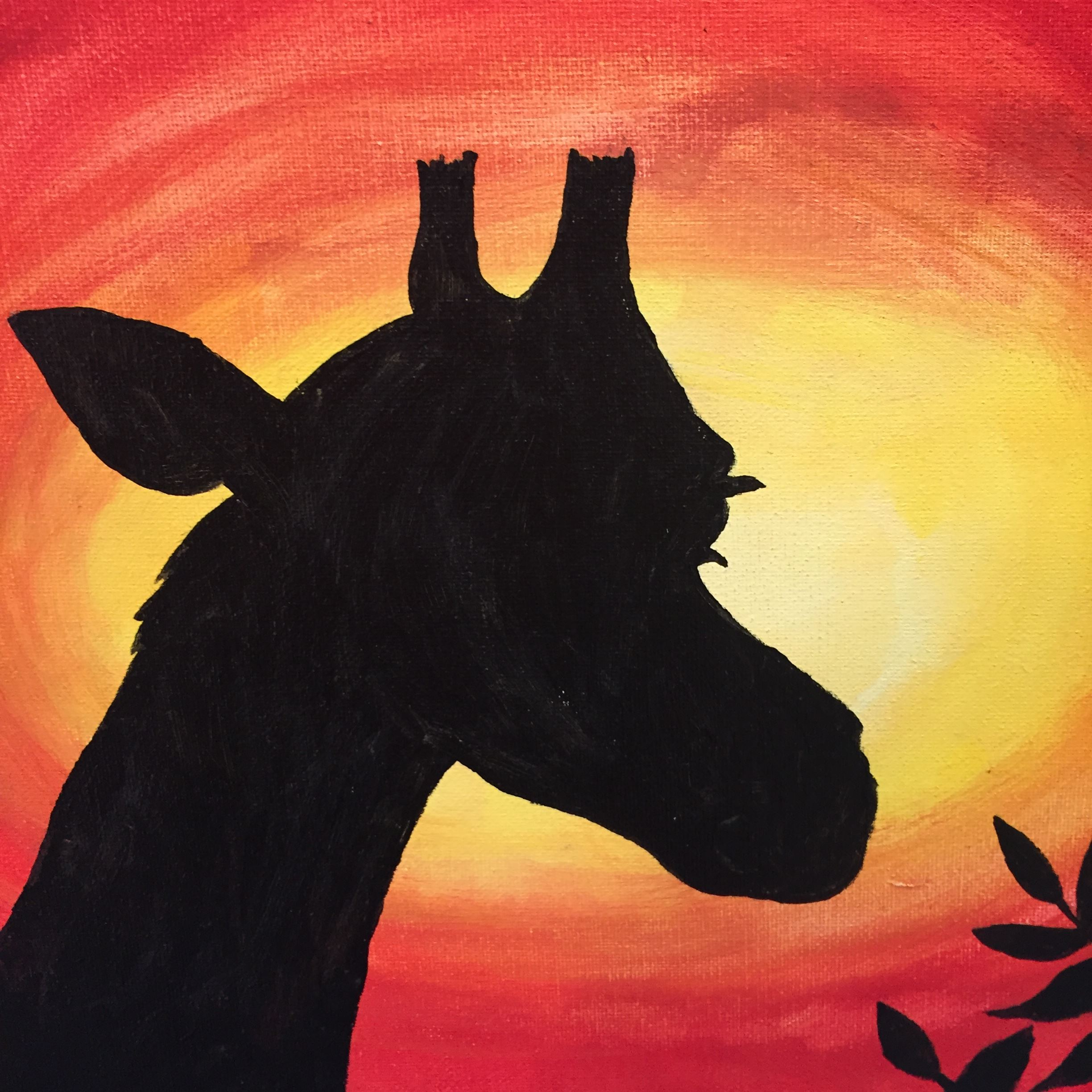 Painting of black giraffe silhouette in front of sunset